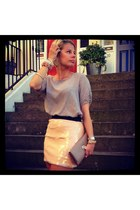 Zara skirt - Aldo bag - vintage blouse - new look bracelet