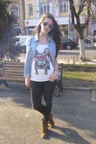 white Pimkie t-shirt - light brown Graceland boots - gray random jeans