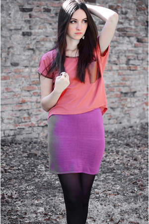 tile coloured pull&amp;bear shirt - plum c&amp;a tights - mini random brand skirt