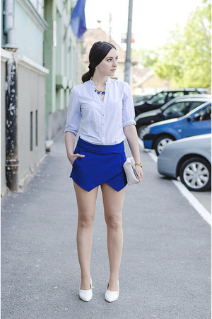 blue Zara shorts - Zara shirt - H&M bag - H&M wedges