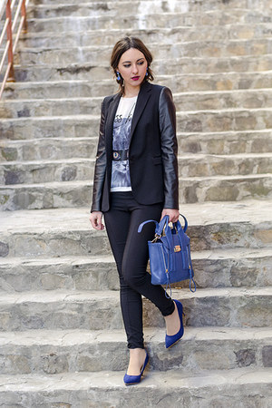 navy PERSUNMALL purse - black H&M leggings - black Zara blazer - navy Zara heels