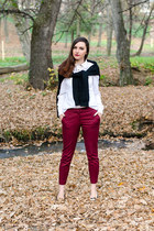 white H&M shirt - crimson Zara pants