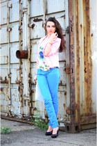 bubble gum pink random brand blazer - cobal Terranova pants