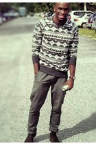 H&M sweater - leather Pull and Bear boots - Topman jeans - tissot watch
