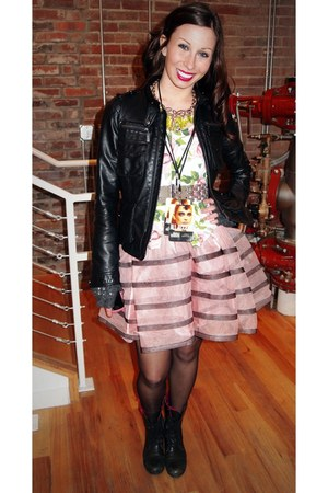 black Betsey Johnson boots - bubble gum floral Betsey Johnson shirt - pink strip