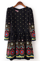 Fast shipping Outfitters Black Long Sleeve Vintage Floral Pleated Dress