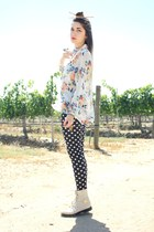 butterfly ring - bird ring - cream lace up boots - blouse - polka dot pants