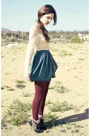 skirt - maroon tights - socks - blouse - broach accessories
