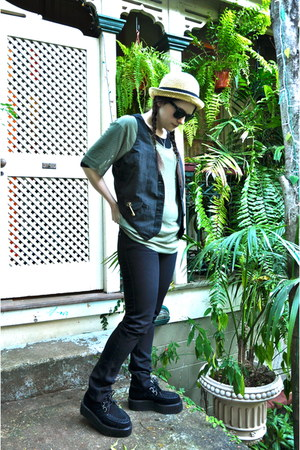 cream hat - black suede creepers Demonia shoes - black Ksubi jeans