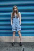 ivory singlet peter alexander shirt - light blue thrifted vintage romper