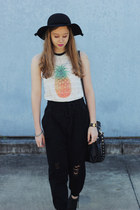 black Lipstik boots - black Mimi and Flo hat - black OASAP bag