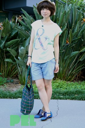 dark green Topshop bag - periwinkle denim shorts Bossini shorts