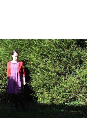 purple asos dress - purple American Apparel t-shirt - red cardigan