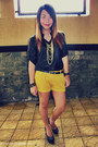 Black-button-down-shirt-yellow-oxygen-shorts-yellow-sm-accessories-necklace