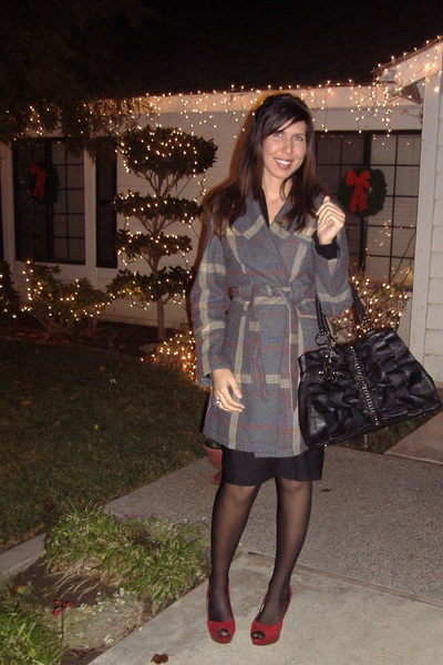 black XXI dress - gray merona jacket - black Express tights - red Guess shoes -