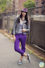 Purple-printed-forever-21-pants-light-purple-fedora-hat