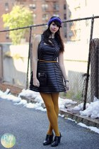 mustard Macys tights - black Forever 21 dress - deep purple H&M Trend hat