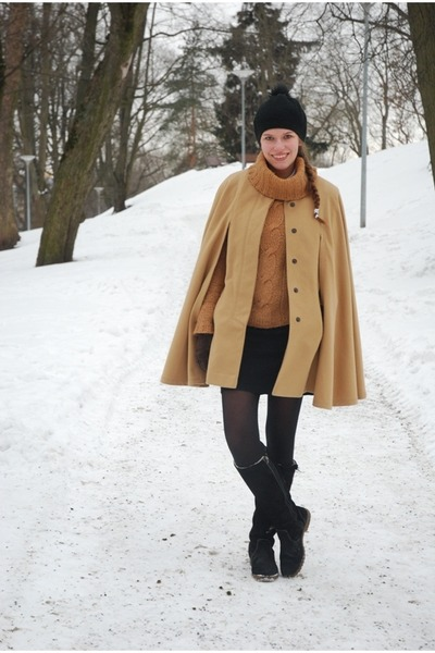 camel Monton cape - dark gray Tamaris boots - black H&M hat