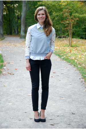 silver lace sleeve OASAP sweatshirt - black lindex jeans