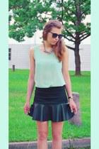 black blink shoes - black Atmosphere sunglasses - light blue OASAP top
