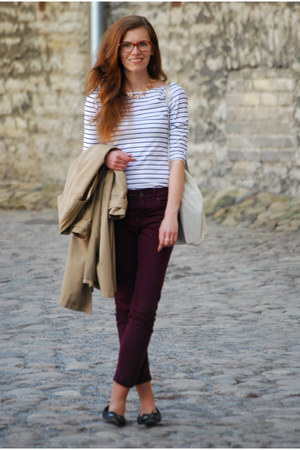 mustard clothinglovescom necklace - beige H&M coat - magenta Marks&Spencer jeans