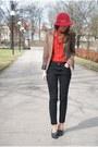 Brown-vila-blazer-black-vero-moda-jeans-maroon-vintage-hat