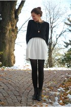red Rings&Tings necklace - black Tamaris boots - white Zara dress
