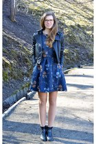 black Tamaris boots - navy floral PERSUNMALL dress - black leather random jacket