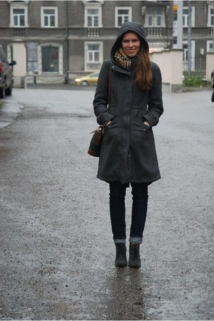 charcoal gray H&amp;M coat - heather gray angelo carutti boots