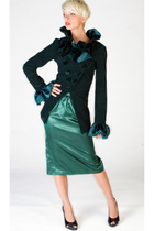Ruffled cutaway blazer & ruched satin skirt