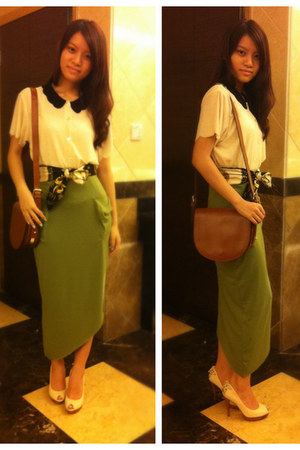 brown Zara bag - olive green Stylenanda skirt - eggshell Topshop blouse