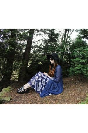 navy chiffon Sheinside dress - black Ebay hat - black Ebay sunglasses