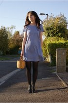 blue Secondhand dress - black H&M tights - black New Yorker heels