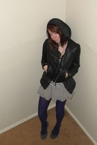 black Forever21 jacket - gray banana republic top - gray H&M skirt - purple Chin