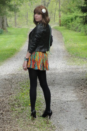 black Forever21 jacket - black merona tights - black Apt 9 shoes - red Forever21