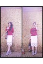 eggshell no brand skirt - ruby red no brand top