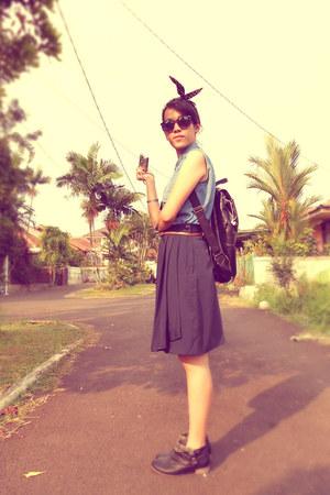 black Nevada boots - navy vintage skirt - sky blue Triset vest