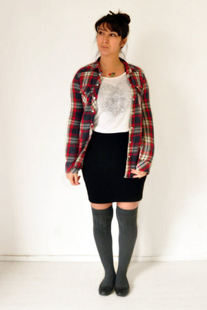 brick red Top Shop shirt - black H&M skirt