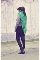 teal handmade scarf - silver H&M jumper - black H&M skirt