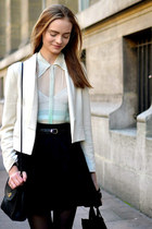 light blue shirt - white jacket - black bag - black skirt