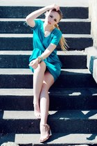 turquoise blue Style by Marina dress - gold MINUSEY necklace - nude Zara heels