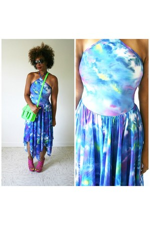 halter dress vintage dress - neon thrifted bag - strappy Steve Madden wedges