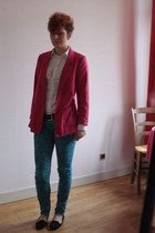 hot pink H&M jacket - turquoise blue leopard darkside pants - white Zara skirt