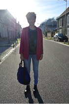 gray wolf Zara t-shirt - H&M jeans - hot pink H&M jacket