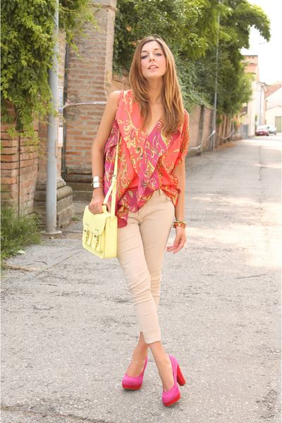 carrot orange ovs blouse - cream H&amp;M bag