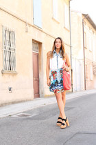 sky blue Zara skirt - red Marc by Marc Jacobs bag - white Sheinside blouse