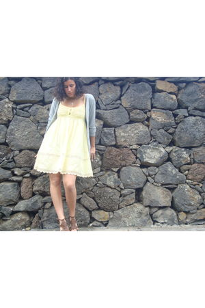silver Mango cardigan - silver DKNY necklace - brown BLANCO shoes - yellow dress