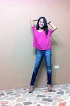 hot pink Forever 21 top - navy straight cut 7 for all mankind jeans