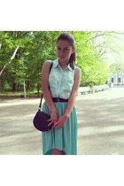 aquamarine H&M shirt - black H&M bag - turquoise blue random skirt