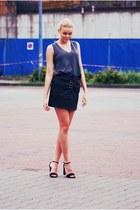 Zara top - leather Zara skirt - Stradivarius heels